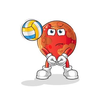 Mars spielen volleyball-maskottchen. karikatur