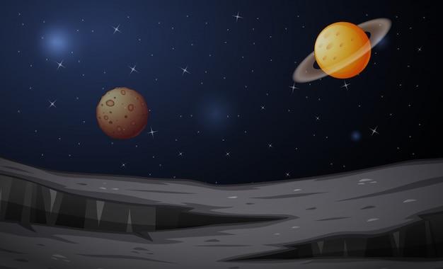 Mars- und saturn-planetenlandschaft in der raumillustration