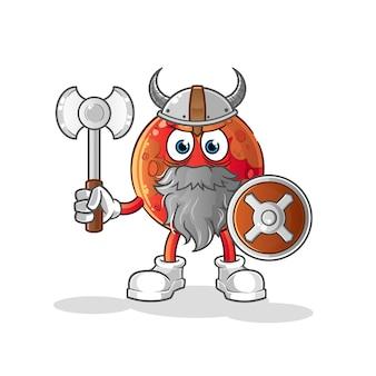 Mars wikinger mit einer axtillustration. charakter