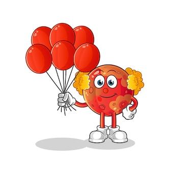 Marsclown mit luftballonsillustration