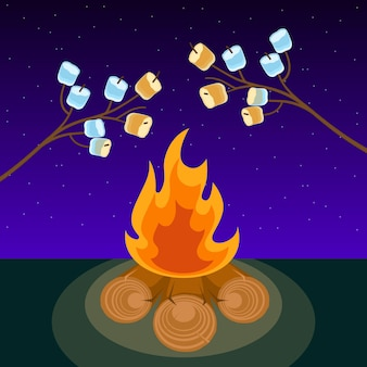 Marshmallow am spieß, der nachts am lagerfeuer gekocht wird, vektorgrafik. marshmallows ausgestreckt über einem lagerfeuer zum braten.