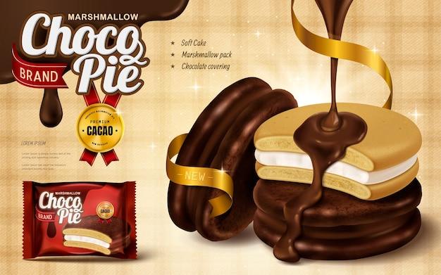 Marshmallow chocolate pie ad, premium schokoladensauce von oben getropft und coverg soft cake
