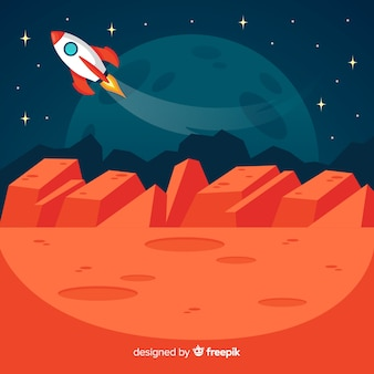 Marslandschaft mit raumfahrzeug
