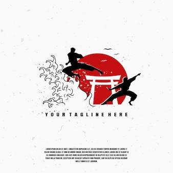 Martial arts illustration logo premium