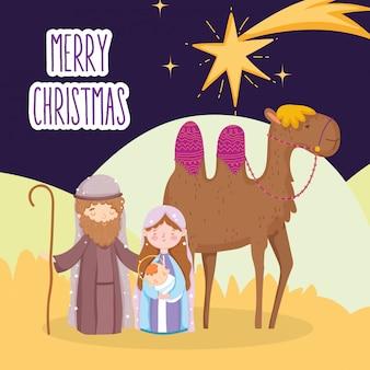 Mary joseph und baby jesus mit kamelstern-wüstenkrippe, frohe weihnachten
