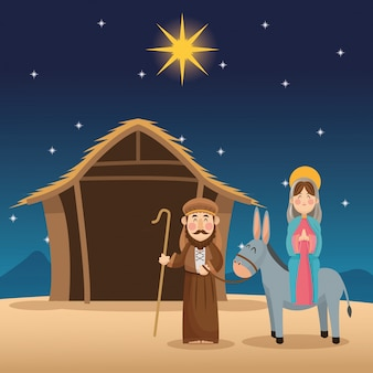 Mary und joseph cartoon-symbol