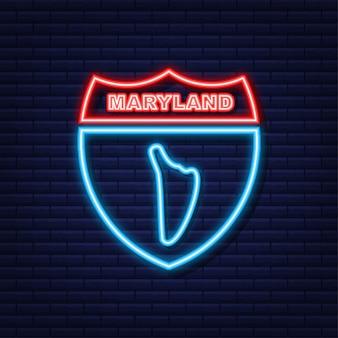 Maryland state map umriss neonsymbol. vektor-illustration.