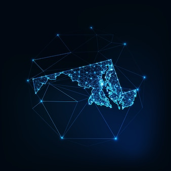 Maryland state usa karte leuchtende silhouette umriss aus sternen linien punkte dreiecke, niedrige polygonale formen.