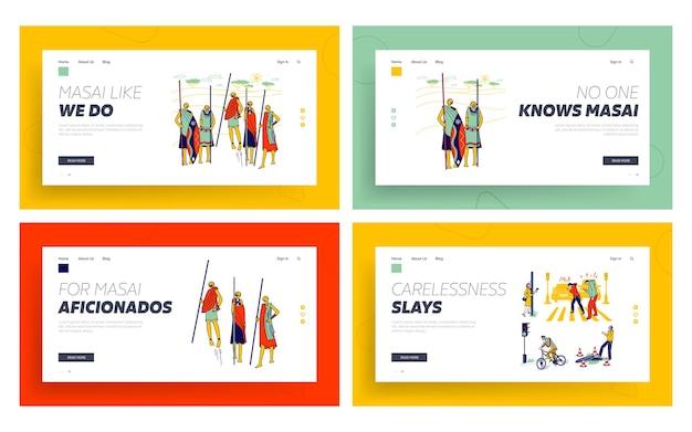 Masai african tribe, charaktere nachlässigkeit mit smartphones landing page template set.