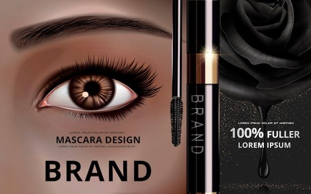 Mascara-designkarte mit hellem auge und wimpern