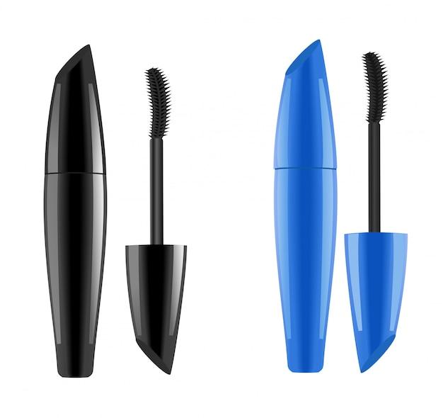 Mascara-verpackung. blaue und schwarze farben. .