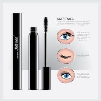 Mascara-verpackung mit augen make-up