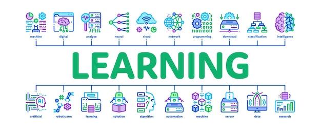 Maschinelles lernen ai minimale infografik web-banner-vektor. künstliche intelligenz und algorithmus des maschinellen lernens, roboterlösung und bildungsfarbillustration