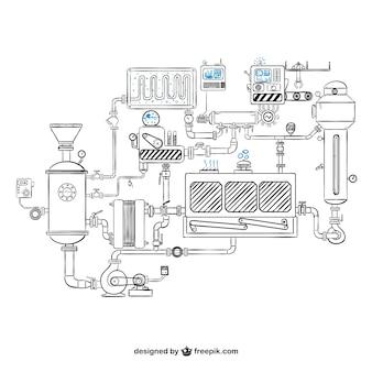 Maschinen zeichnung vektor