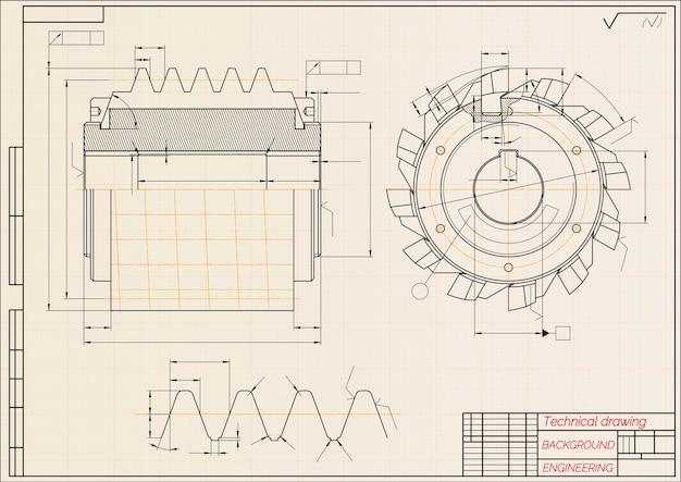 Maschinenbauzeichnungen auf beigem technischem papierhintergrund. schneidwerkzeuge, fräser. industriell. entwurf.