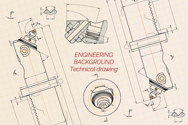 Maschinenbauzeichnungen auf blauem hintergrund. bohrstange mit mikrometrischer einstellung. technisches design. abdeckung. entwurf. vektor-illustration.