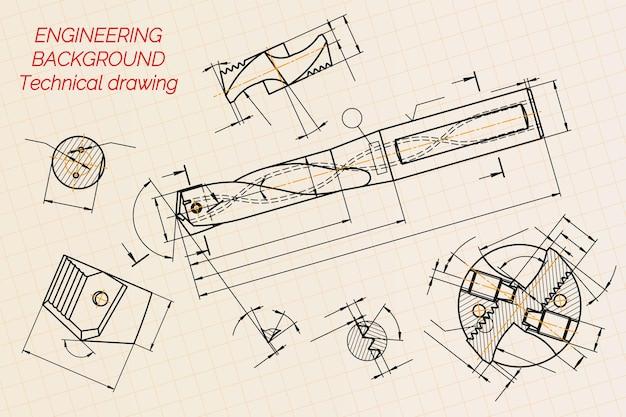 Maschinenbauzeichnungen auf blauem hintergrund. bohrwerkzeuge, bohrer. technisches design. abdeckung. entwurf. vektor-illustration.