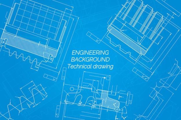 Maschinenbauzeichnungen auf blauem hintergrund