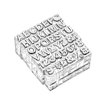 Maschinenbuchstaben hand gezeichneter vektor in der weinlese