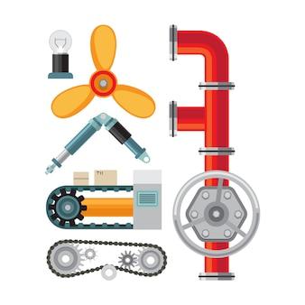 Maschinenteile flache elemente gesetzt