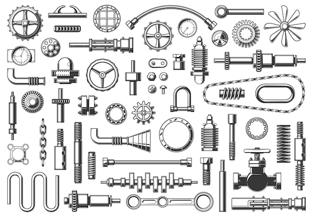 Maschinenteile kette, rohr und kupplung, zahnrad oder ritzel