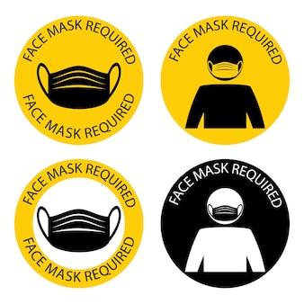 Maske erforderlich. auf dem gelände ist eine gesichtsmaske erforderlich. die bespannung muss in geschäften oder öffentlichen räumen getragen werden. legen sie die schutzhülle auf. nur in maske eingeben. vektor-illustration
