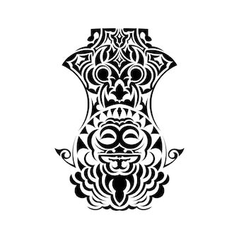 Maske gesicht tattoo ornament maori-stil. traditionelle afrikanische ritualmaske. tiki moko. totem-design.