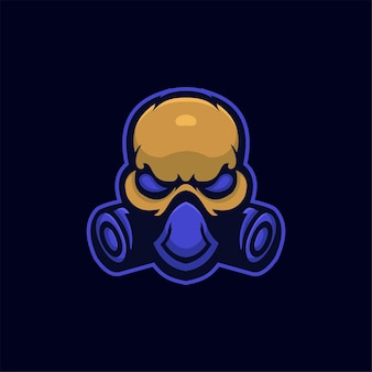 Maske kopf cartoon logo vorlage illustration esport logo gaming premium vektor