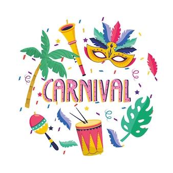 Maske mit palmen und trompete mit trommel zum festival