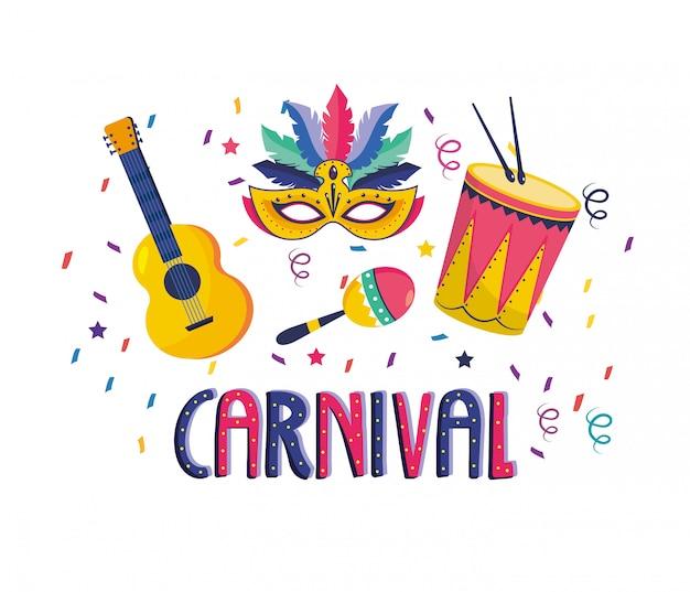 Maske mit trommel und maracas mit trommel zum feiern