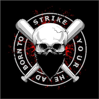 Maske und baseballschläger des gangsterschädels tragende