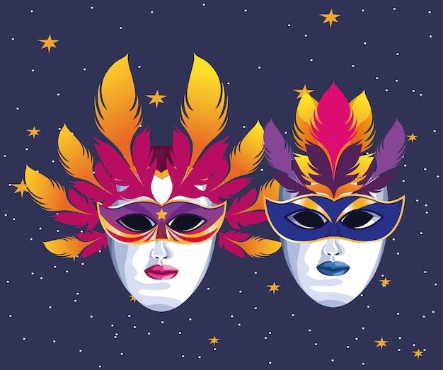 Masken mit federn