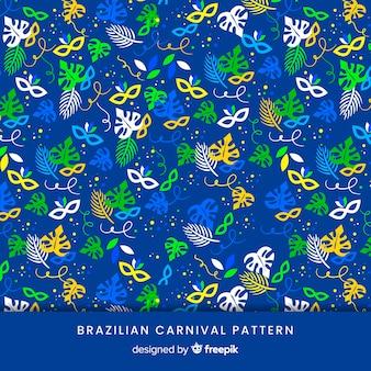Masken und brasilianisches karnevalsmuster der blätter