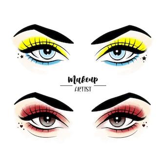 Maskenbildner blue eyes Premium Vektoren