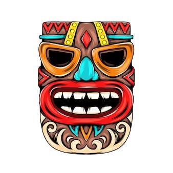 Maskeninspiration mit blauer nase für die party auf der tiki-insel