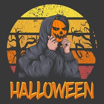 Maskenkürbis-charakter in halloween-sonnenuntergang