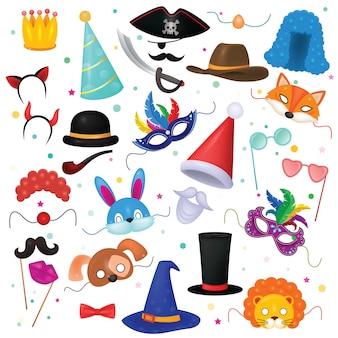 Maskenvektorkinderkarnevalskostümhut für kinder maskieren party- und karikaturtiermaskenillustrationssatz des maskierten kindes und der kopfbedeckung für geburtstagsfeier