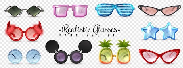 Maskerade brille diamant stern katzenauge geformt. lustige sonnenbrille realistisch gesetzt transparent