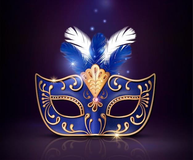 Maskerade dekorative blaue maske im 3d-stil auf lila