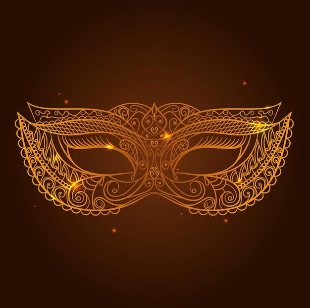 Maskerade-karnevals-masken-dünne linie auf einem dunkelbraunen hintergrund-symbol des feiertags. vektor-illustration