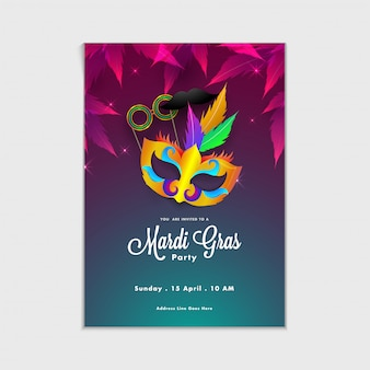 Maskerade, mardi gras. karneval, nacht party poster, tanz party flyer, musikalische party ban