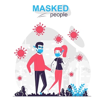 Maskierte menschen isolierten cartoon-konzept mann und frau mit masken gehen im park spazieren