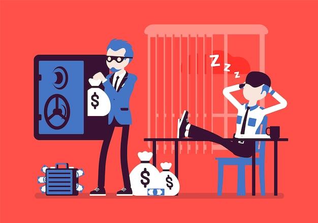 Maskierter dieb, der geld stiehlt, während der wachmann schläft