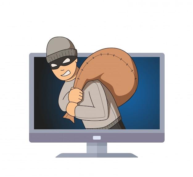 Maskierter einbrecher, der im computermonitor mit tasche auf seiner schulter lächelt.