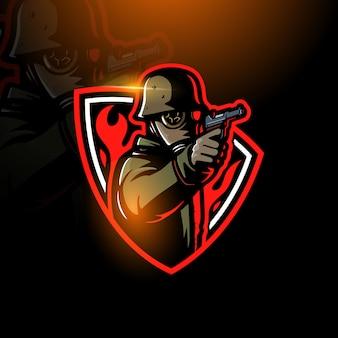 Maskierter soldat, der gewehr-esport-logo hält