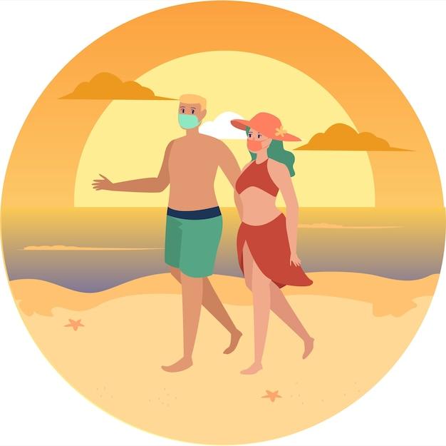 Maskiertes paar, das am strand spazieren geht und gemeinsam den sonnenuntergang genießt