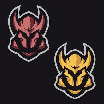 Maskiertes ritter-maskottchen-logo