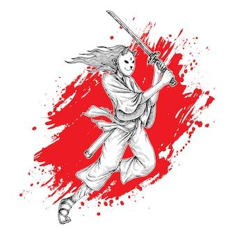 Maskiertes samurai-mädchen schwingt katana, handgezeichnete illustration