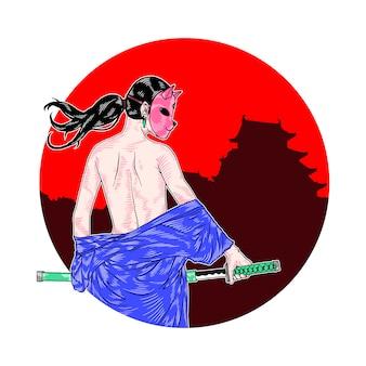 Maskiertes samurai-mädchen