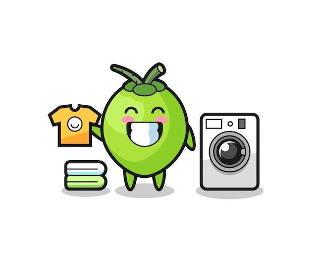 Maskottchen-cartoon aus kokosnuss mit waschmaschine, süßes design für t-shirt, aufkleber, logo-element